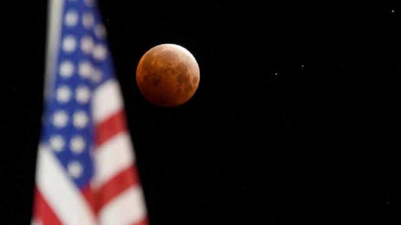 Over the Pacific Ring of Fire, a super blood moon