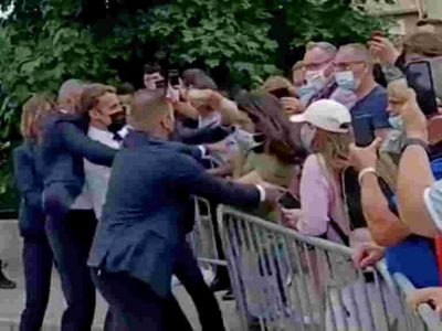 """France's Macron slapped in the face, and the assailant shouted """"Montjoie Saint Denis"""""""